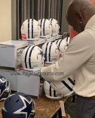 Emmitt Smith signing Flat White Authentic helmet