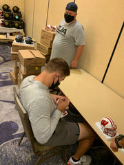 Derek Watt signing University of Wisconsin Mini Helmet