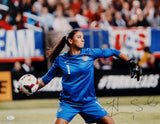 Hope Solo Autographed 16x20 Team USA Throwing Ball Photo- JSA Authenticated