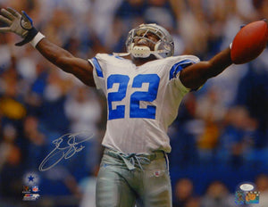 Emmitt Smith Autographed Dalla Cowboys 16x20 Horizontal Cheering Photo- JSA Auth