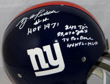 Y.A. Tittle Autographed New York Giants Full Size TK Helmet W/ Stats- JSA Auth