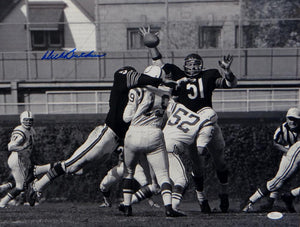 Dick Butkus Autographed Bears 16x20 B&W Against Colts Photo- JSA W Authenticated