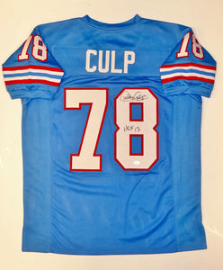 Curley Culp Autographed Blue Pro Style Jersey W/ HOF- JSA W Authenticated