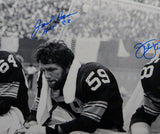 Jack Ham Jack Lambert Autographed 16x20 B&W On Bench Photo W/ HOF- JSA W Auth