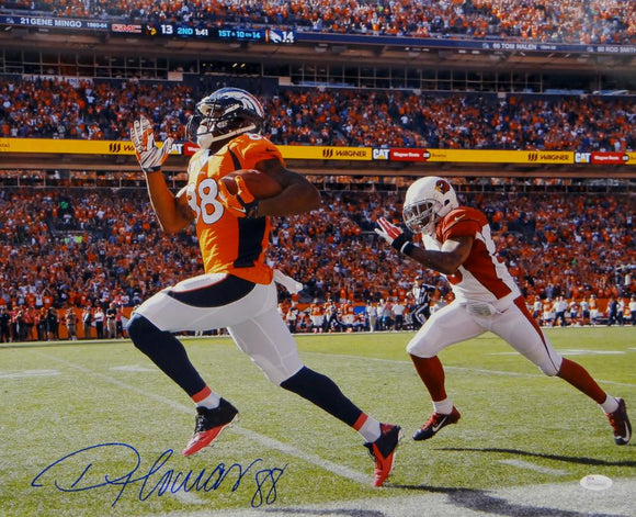 Demaryius Thomas Autographed Broncos 16x20 Running From Cardinals Photo- JSA W Auth