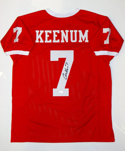 Case Keenum Autographed Red College Style Jersey- JSA W Authenticated