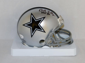 Bob Lilly Autographed Dallas Cowboys Mini Helmet With HOF and JSA W Auth *Black