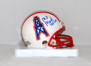 Mike Munchak Autographed Houston Oilers Mini Helmet W/HOF and JSA W Auth