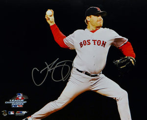Curt Schilling Autographed Boston Red Sox 16x20 Horizontal Pitching Photo- JSA W Auth