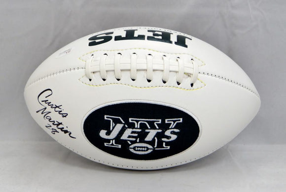 Curtis Martin Autographed New York Jets Logo Football- JSA Witnessed Auth