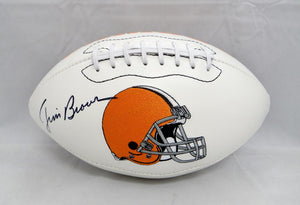 Jim Brown Autographed Cleveland Browns Logo Football- PSA/DNA Authenticated