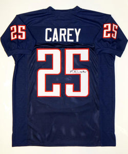 Ka'Deem Carey Autographed Blue College Style Jersey- JSA Witnessed Auth