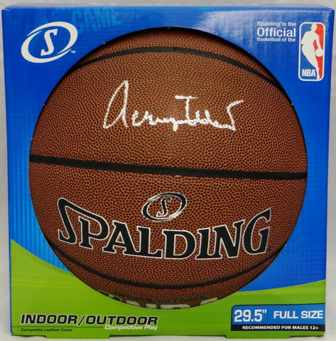 Jerry West Autographed In Silver NBA Spalding Basketball- JSA Witnessed Auth