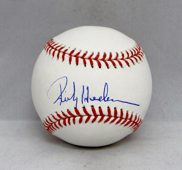 Rickey Henderson Autographed Rawlings OML Baseball- JSA Witnessed Auth
