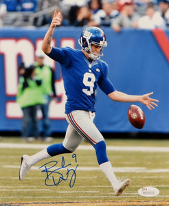 Brad Wing Autographed New York Giants 8x10 Punting Photo- JSA Witnessed Auth