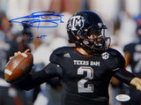 Johnny Manziel Autographed *Blue Texas A&M 8x10 Close Up Photo W/ HT- JSA W Auth