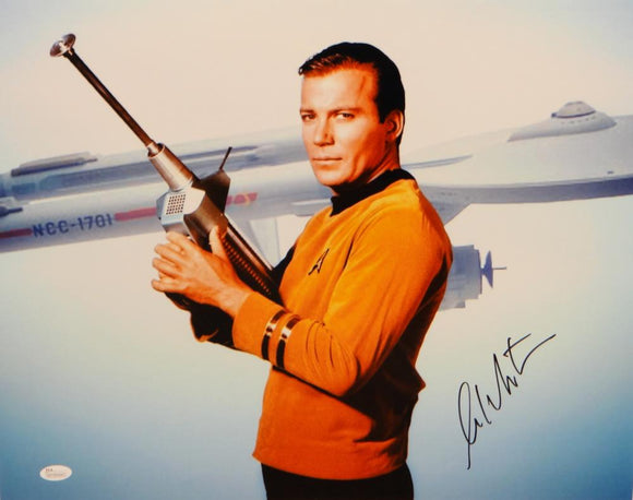 William Shatner Signed *Black Star Trek 16x20 Captain Kirk Posing Photo- JSA W Auth