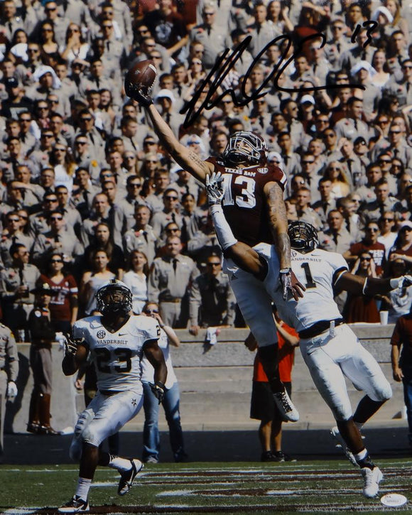 Mike Evans Autographed *Black Texas A&M 16x20 Leaping Photo- JSA Witnessed Auth