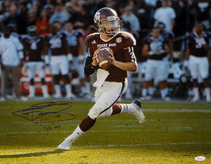 Johnny Manziel Autographed 16x20 Looking To Pass Photo W/ HT- JSA Witnessed Auth