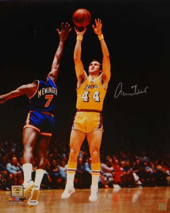 Jerry West Autographed Los Angeles Lakers 16x20 Shooting P.F. Photo-PSA/DNA Auth