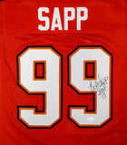 Warren Sapp Autographed Red Pro Style Jersey With HOF- JSA Witnessed Auth