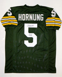 Paul Hornung Autographed Green Pro Style Jersey With HOF- JSA Witnessed Auth