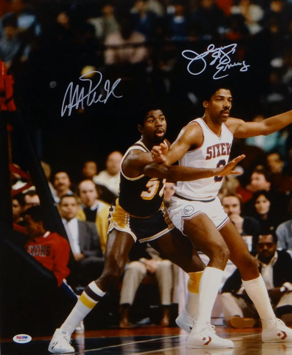 Magic Johnson Julius Erving Autographed 16x20 Boxing Out Photo- PSA/DNA Auth