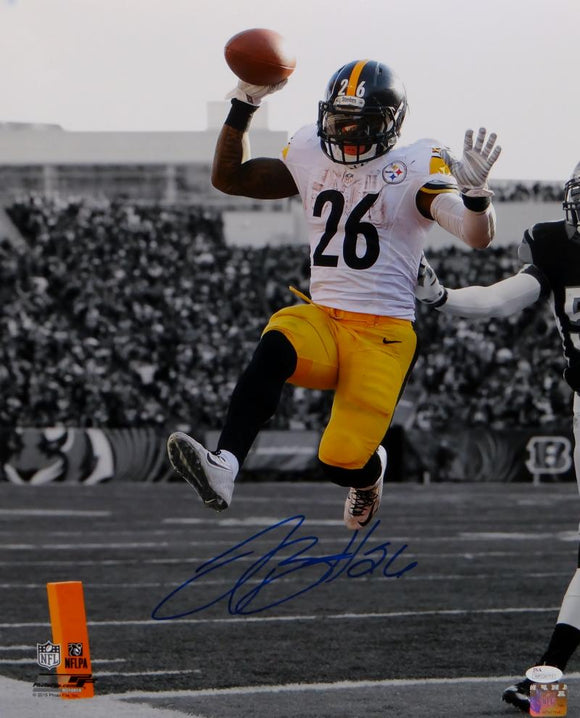 LeVeon Bell Autographed Steelers 16x20 B&W With Color Jumping PF. Photo- JSA W Auth