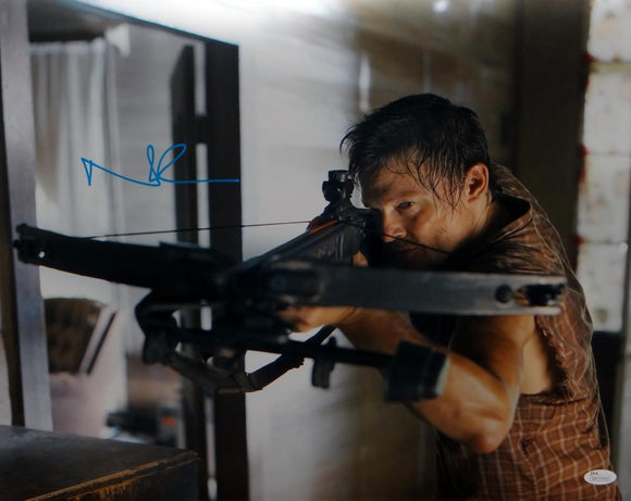 Norman Reedus Signed Walking Dead 16x20 Crossbow Plaid Shirt Photo- JSA W Auth
