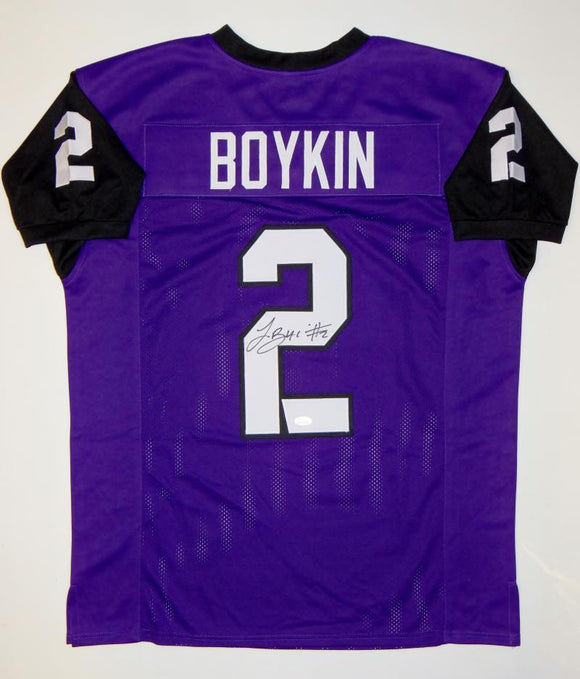 Trevone Boykin Autographed Purple College Style Jersey- JSA Witnessed Auth
