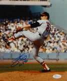 Jim Palmer Autographed Baltimore Orioles 8x10 Pitching Photo W/ HOF- JSA W Auth