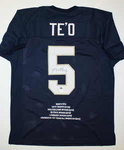 Manti Te'o Autographed Navy Blue College Style Stat Jersey- JSA W Authenticated