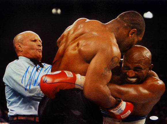Mike Tyson Autographed 16x20 Biting Holyfield Photo- JSA Witnessed Auth