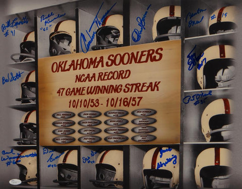 1953-57 Oklahoma Sooners Autographed 16x20 47 Game Winning Streak Photo-JSA Auth