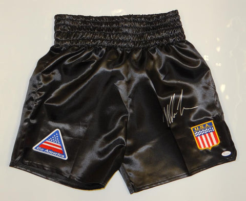 Mike Tyson Autographed Black Boxing Trunks w/ Patches- JSA Witnessed Authenticated