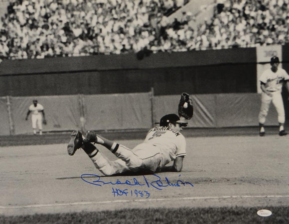 Brooks Robinson Signed *Blue Orioles 16x20 Diving Catch Photo W/ HOF- JSA W Auth