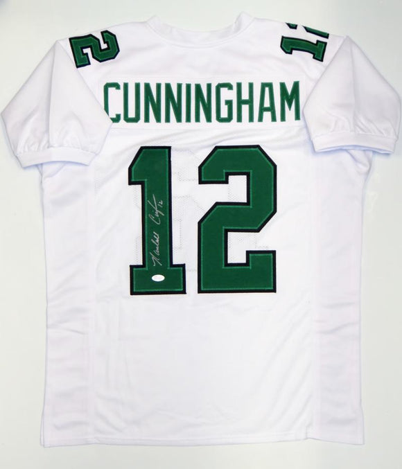 Randall Cunningham Autographed White Pro Style Jersey- JSA Witnessed Auth