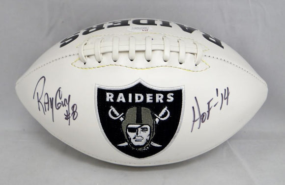 Ray Guy Autographed Oakland Raiders Logo Football W/ HOF- JSA W Authenticated