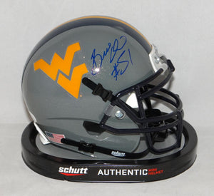 Bruce Irvin Autographed West Virginia Mountaineers Gray Mini Helmet- JSA W Auth