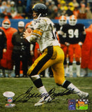 Terry Bradshaw Autographed Steelers 8x10 Looking To Pass PF. Photo- JSA W Auth