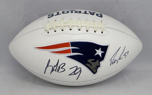 LeGarrette Blount Dion Lewis Autographed New England Logo Football- JSA W Auth