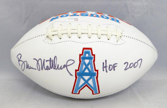 Bruce Matthews Autographed Houston Oilers Logo Football With HOF- JSA W Auth