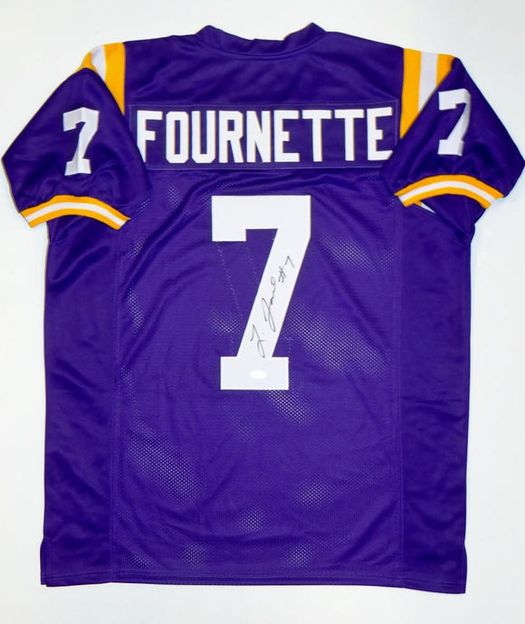 Leonard Fournette Autographed Purple College Style Jersey- JSA W Authenticated