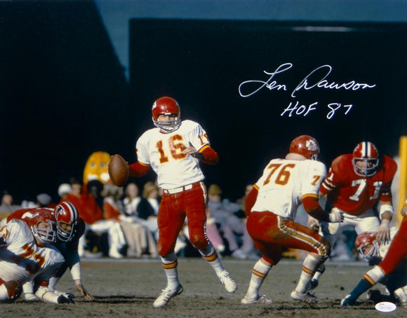Len Dawson Signed *White Kansas City 16x20 About To Pass Photo W/ HOF-JSA W Auth