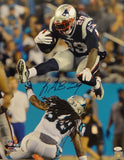 LeGarrette Blount Signed New England Patriots 16x20 Hurdle PF Photo- JSA W Auth