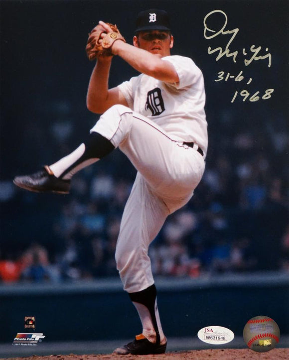 Denny McLain Signed Detroit 8x10 Pitching PF Photo W/ 31-6, 1968- JSA W Auth