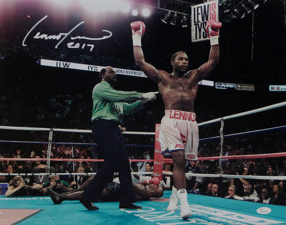 Lennox Lewis Autographed 16x20 Celebrating Photo- JSA W Authenticated
