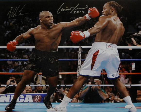 Mike Tyson/Lennox Lewis Autographed 16x20 Photo- JSA W Authenticated