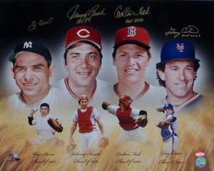 Berra, Bench, Fisk & Carter Autographed HOF Catchers 16x20 Photo Steiner Auth