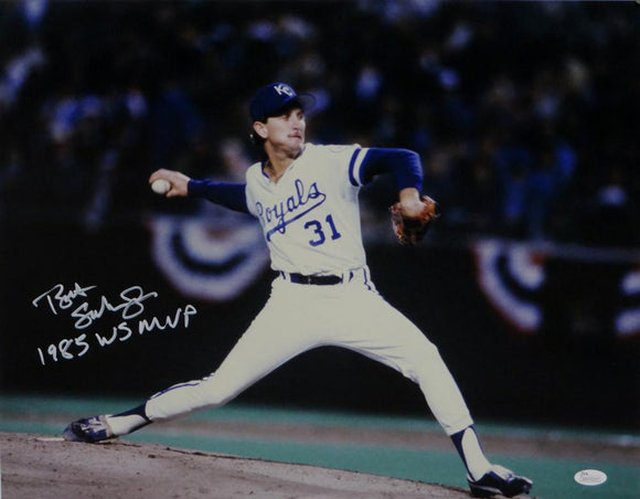 Bret Saberhagen Autographed Royals Ready to Throw WS MVP 16x20 Photo JSA W Auth
